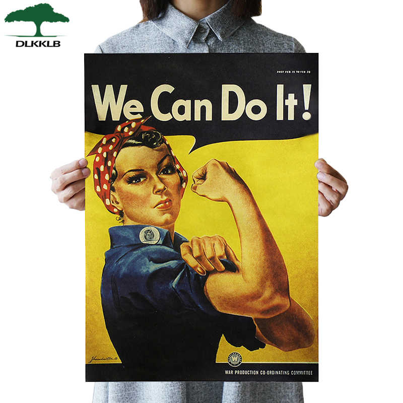 DLKKLB Retro Movie We Can Do It Kraft Paper Adornment Posters Vintage Poster Adornment Home Decoration Wall Stickers 51.5X36cm