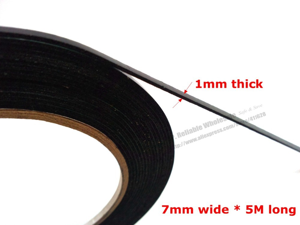 (1mm thick) 7mm*5M, Black Cellphone Dust Proof Sponge Foam Tape Double Sided Adhesive, for Phone Anti Dust Repair, Sealing waterproof seam sealing tape roll satellite self amalgamating rubber sealing tape sealing cable repair lead