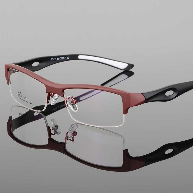 Bclear Glasses Frame Yang Pria Desain Khas Merek Nyaman TR90 Setengah Bingkai Persegi Olahraga Kacamata Bingkai Kacamata