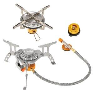 Image 3 - Lixada di Campeggio Pieghevole Stufa A Gas Set con Adattatore di Testa di Conversione del Gas Fornello Da Campeggio Bruciatore A Gas Wndshieldalcohol Stufa