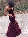 Único Sereia africano Vestidos de Baile Querida Borgonha Veludo Preto Organza vestidos graduacion pará 2016 vestido formatura