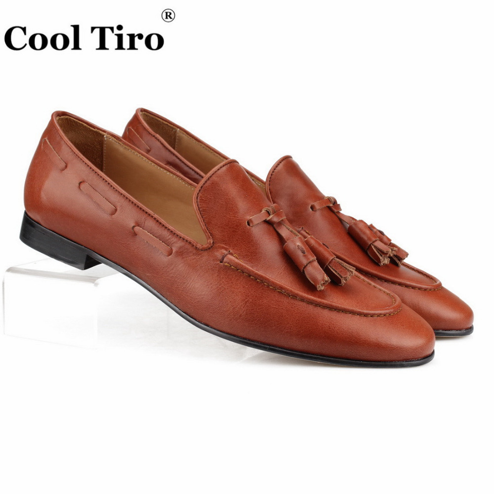 Cool Tiro Handmade Tassels Loafers Slippers Men Moccasins Brown Genuine Leather Casual Shoes Formal Wedding Men