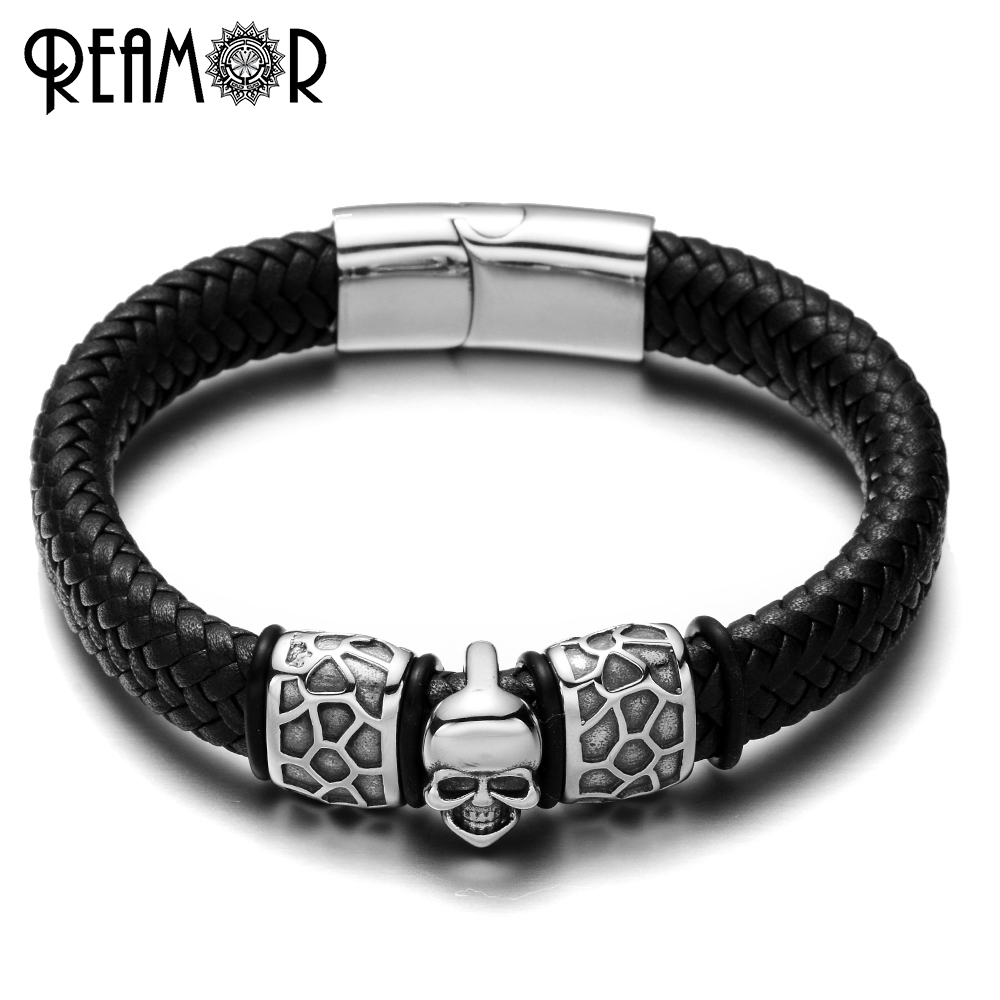 REAMOR 316L Stainless Steel Skull Head Male Bracelets Punk Style Charms Bracelet Wide Braided Leather Rope Bangles Mens Jewelry
