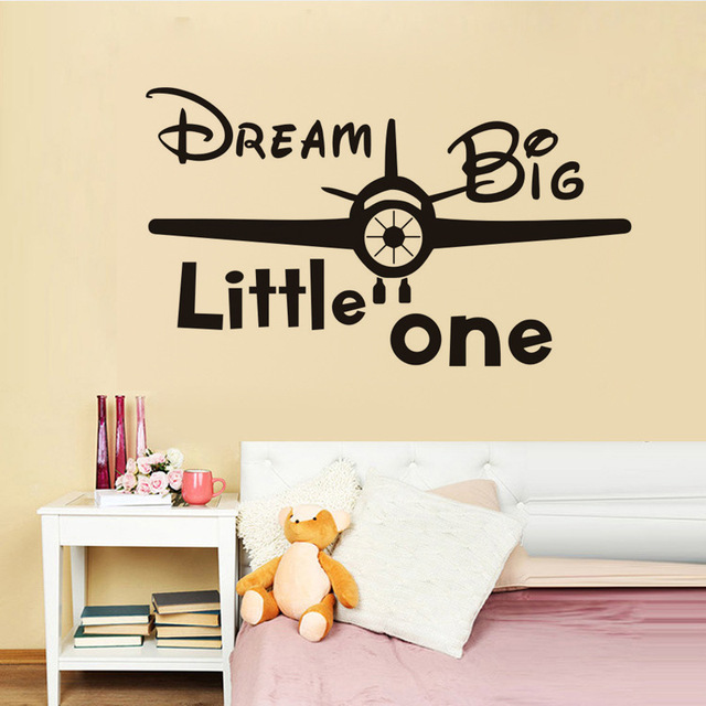 Dream Big Little One Vinyl Quote Wall Decal Kids Room Decor Bedroom  Wallpaper Removable Wall Stickers