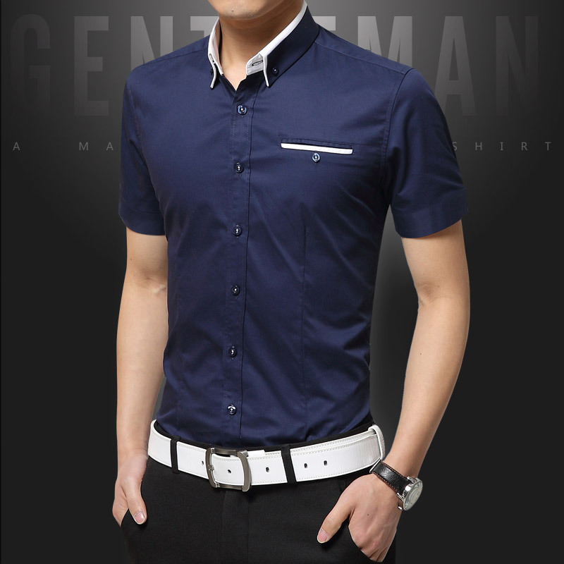 New Arrival Summer Casual Shirt Men Good Quality Mens Dress Shirts Solid Slim Fit Short Sleeve Men's Clothing 2019 Plus Size 5XL