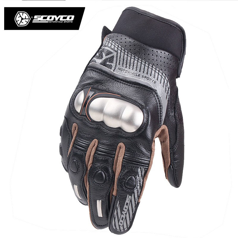 2017 Summer New SCOYCO Off-road motorcycle gloves MC60 cowhide leather motorbike glove with stainless steel shell and can reflex the locomotive car off road motorcycle 4 sets of four summer leggings kneecaps fall proof stainless steel brace length