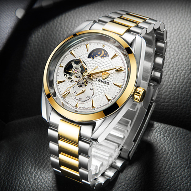 Hot Watch Men Waterproof Business Automatic Mechanical Watches TEVISE Men Brand Luxury Moon Phase Stainless Steel Male Clock tevise fashion mechanical watches stainless steel band wristwatches men luxury brand watch waterproof gold silver man clock gift