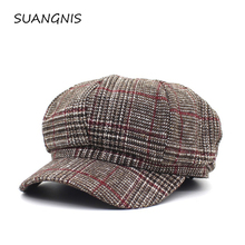New wool Women Beret Autumn Winter Plaid Vintage Fashion Octagonal Casual boina