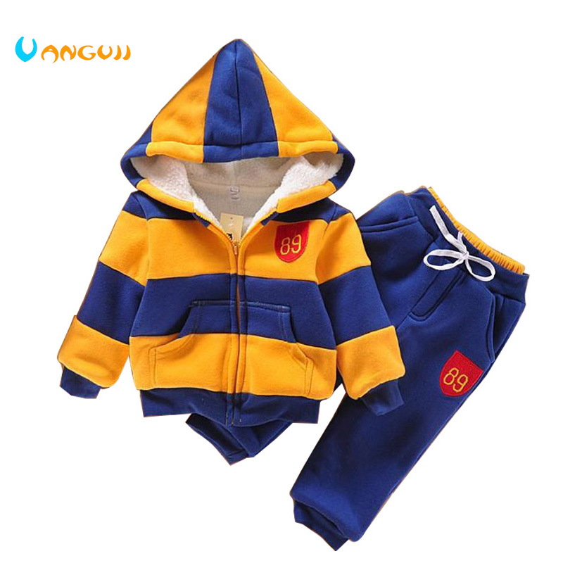 2018  sports suit jacket sweater coat & pants thicken kids clothes set Hot sell boys girls children winter wool sherpa 2016 new suit boys clothes brand winter sweater for kids 3 13 year with m word three piece set boys vest pants coat a 26145
