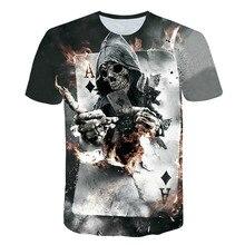 2019 NEW 3d Skull Poker A Funny T shirts Men HOT Brand Mens Casual 3D Printed shirt Clothes Tshirt Summer Tops Streetwear