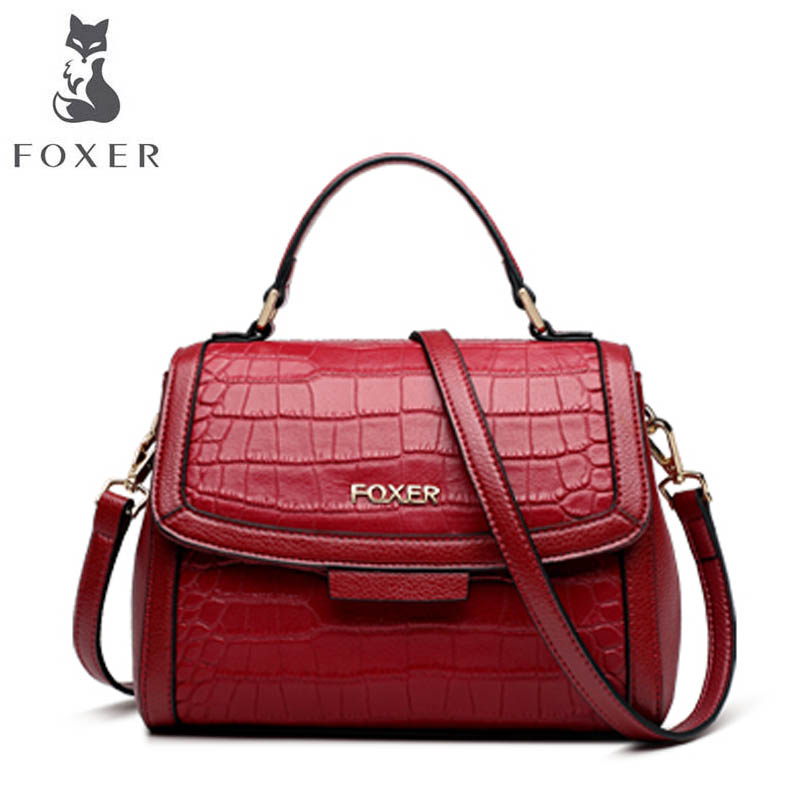 FOXER brand leather handbags Fashion crocodile pattern handbag 2018 New Shoulder Messenger Bag Killer package