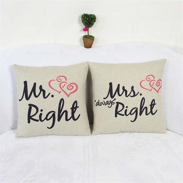 Cuscini Mr Right Mrs Always Right.Online Shop 2pcs Set Mr Right Mrs Always Right With Sweet Hearts