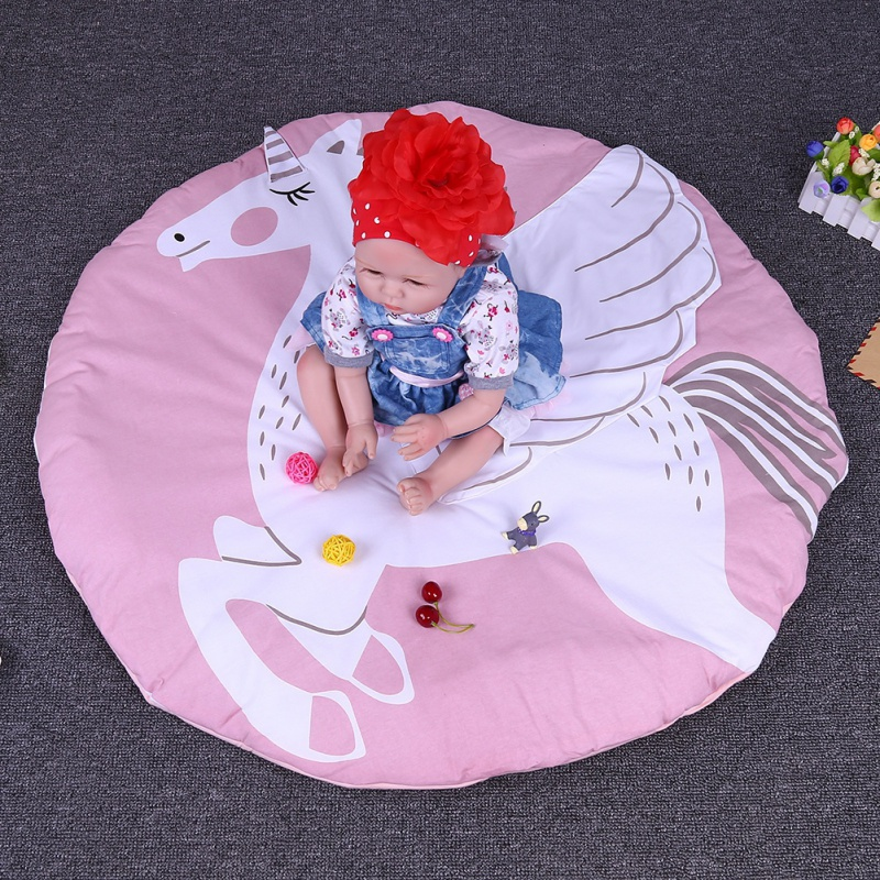 100% Cotton born Baby Carpet 90CM Girls Boys Kids Cartoon Crawling Blanket Play Mat Infant Toddler Gaming Zone Mats Decor