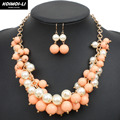 Statement Bead Necklace Gold Plate Chain Acrylic Imitate Pearl Necklace For Women Party Jewelry 6490