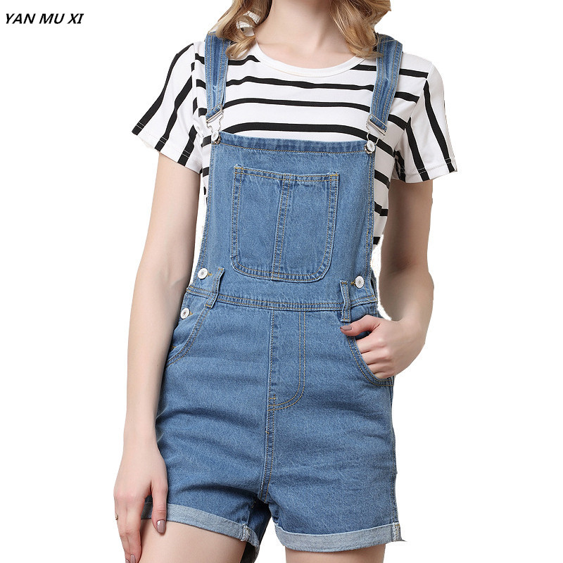 New Brand YAN MU XI 2017 Summer Solid color Denim Shorts Women Slim strap Short Jeans Pocket Fashion College Wind Women Shorts