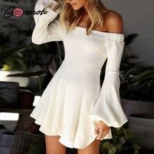 Conmoto Off Shoulder Women Knitted Winter Dress Lantern Long Sleeve Dresses Mini Party Feminino Dress 2018 Trend Vestidos