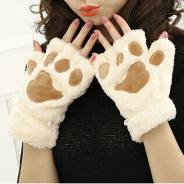 1Pair Women Girls Winter Warm Soft Bear's Paw Furry Thicking Half Finger Gloves Fluffy Mitten Cute For Daily Life