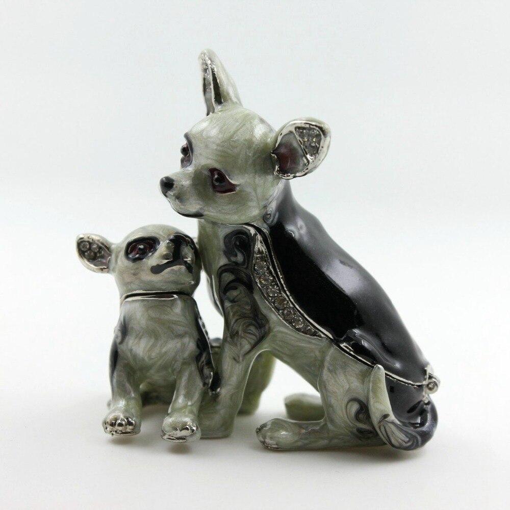 תיבת תכשיט תיבה דקורטיבית בבית חכם פיוטר קופסא תכשיטים בעבודת יד כלב אמא ובן