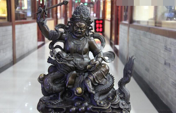 Collectible Bronze Lion Statue S1111 Tibet Pure Copper Bronze Cloister White God Of Wealth Jambhala Sit Dragon Statue B0403