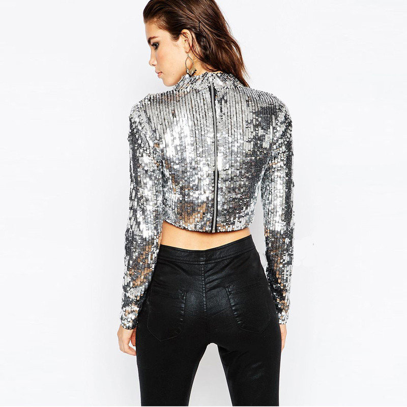 Vagary Women Sexy Club Cropped Tops Hot Sale High Street Clothing 2016 Lady SIlver Round Neck Long Sleeve Sequined Crop T-Shirt