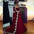 Arábia Árabe Dubai Kaftan borgonha Velvet Manga Comprida Vestido de Noite 2017 Apliques Elegnat Mulheres Islâmicas Vestido Abendkleider