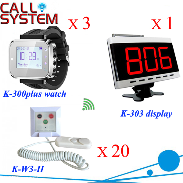 Electronic nurse call bell system K-303 receiver W 3 wrist watches 20 room bell buzzer for paging hospital equipment restaurant call bell pager system 4pcs k 300plus wrist watch receiver and 20pcs table buzzer button with single key