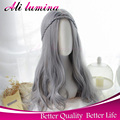 Cheap Long Gray/Grey Wig Curly Synthetic Lace Front Wig Highlights For Hair Wigs Women Lolita Wig Cosplay Anime Halloween