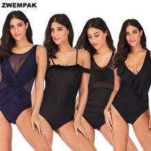 9124d7603b91a 2019 Ретро женские цельные купальники большой размер 2xl-5xl женский  купальный костюм винтажный высокий вырез