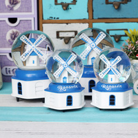 Creative Bedroom Furnishings Mediterranean Windmill With Light Crystal Ball Music Box Music Bell For Kids birthday gift