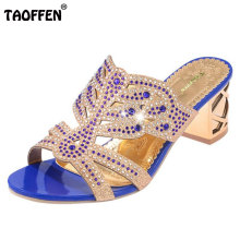 TAOFFEN Bohemia Lady High Heel Sandals Hallow Out rhinestone Slipper Peep Toe Shoes Women Party Beach Footwear Size 35-39