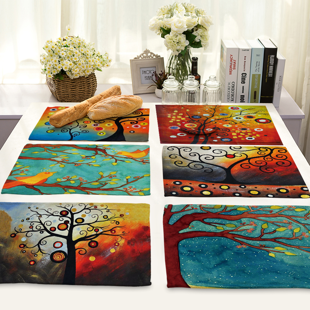 Creative tree Printed Table Napkin For Wedding Set Bowl Dining Mats 42*32cm Kids Table Set Home Decoration MP0019