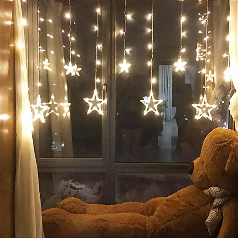2.5M LED Christmas Light AC220V EU Romantic Fairy LED Curtain Star String Lights For Holiday Wedding Garland Party Decoration