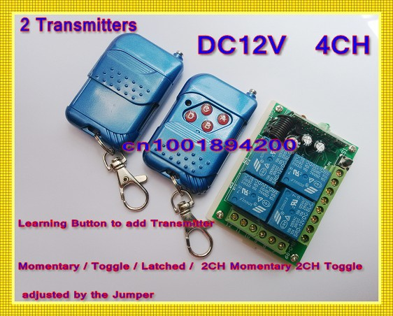 DC12V 4CH Digital Remote Control Switch 4 different Outputs Learning Code 10A Relay 315/433.92MHZ 2Transmitter 1 Receiver 12v 2ch remote control switch 2transmitter 1receiver 1ch 1button independently 315 433mzh with relay indicator learning code