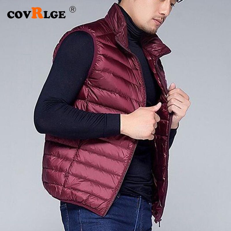 Covrlge Casual Light Men Down Vest Top Selling Zipper Big Size New Arrival 6 Colors Male White Duck Down Vest MWB014