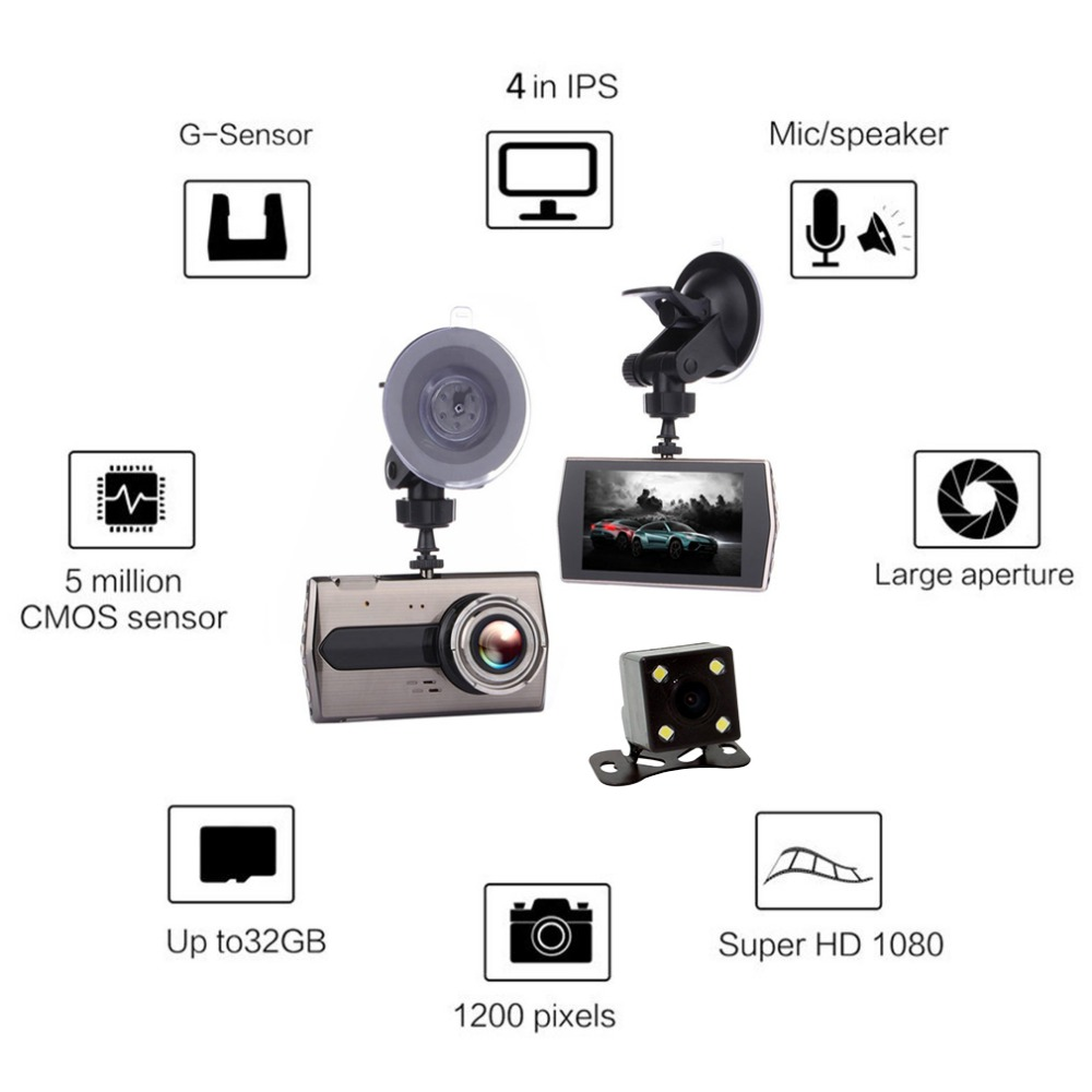 4 Inch Car DVR with Rearview Camera HD 1080P Car Video Recorder Mobile Detection Loop Recording Dash Cam Support TF Card