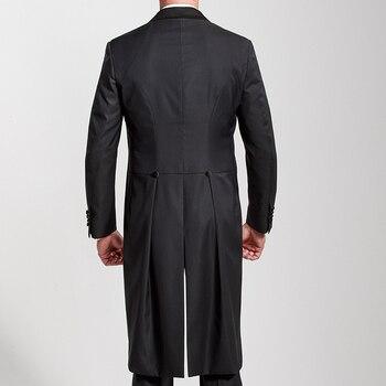 Esmoquin De Cola Larga   Trajes De Boda Para Hombre Con Cola Larga Con Solapa De Pico Traje De Pantalón De Novio Negro Hecho A Medida