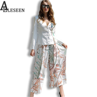 Elegant 2 Piece Set Bambo Leaves Print Long Sleeve Fashion V Neck Sashes Sexy Tops Kimono