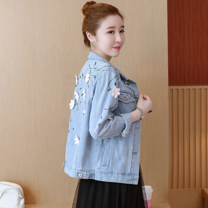 2019 Autumn Winter Women Floral Embroidery Denim Jacket Coat Casual Jeans Jacket Flower Embroidered Basic Jackets