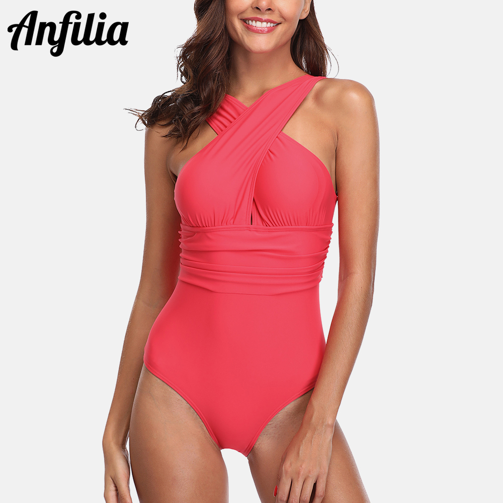 Anfilia 2019 New Women One Piece Swimsuit From Cross Sexy Monokini Fold Swimwear Beachwear Bathing Suit in Body Suits from Sports Entertainment