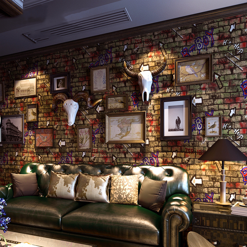 PVC Vinyl Wallpaper 3 D Embossed Retro Brick Wall Personality Graffiti Cafe Restaurant Backdrop Wall Paper Roll Papel De Parede vinyl pvc wood wallpaper roll 3d effect retro decorative cork plaid wine box backdrop wallpaper papel de parede madeira