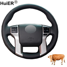 Hand Sewing Car Steering Wheel Cover Top Cow Leather For Toyota Land Cruiser Prado 2010-2017 Tundra 2014-2019 Tacoma 2012 - 2019