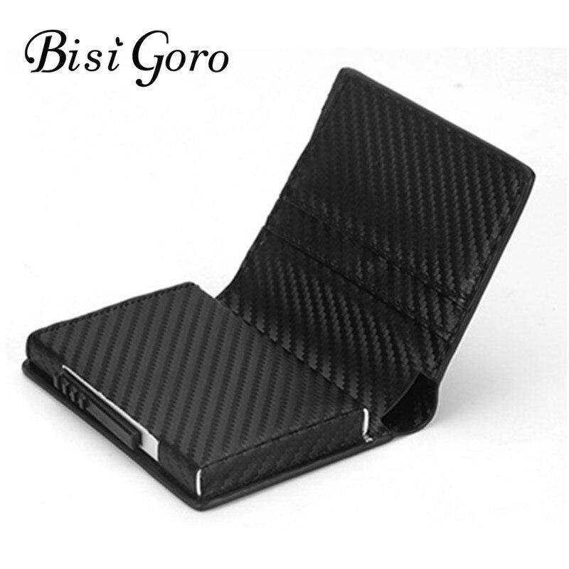 BISI GORO Neue Stil RFID Karte Halter Brieftasche Metall Männer Frauen Einzigen Box Minimalistischen Brieftasche Aluminium Blocking Brieftasche für Karten