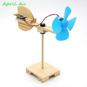April Du Sience Experiment Toy DIY Wind Turbine Model Kits Wood Assembly Children's Creative Educational Toys theo jansen mini strandbeest model wind power beast diy educational toys handmade science experiment toys child birthday gift