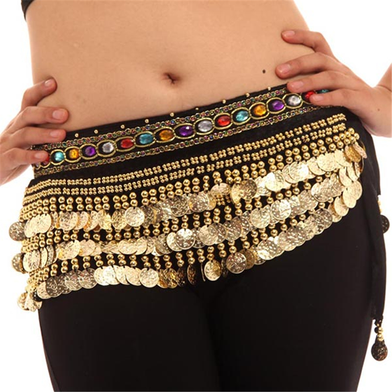 New Women Belly Dance Costumes Velvet Hip Scarf  Wrap Belt Women Skirt Dancewear WIth 248 Coins