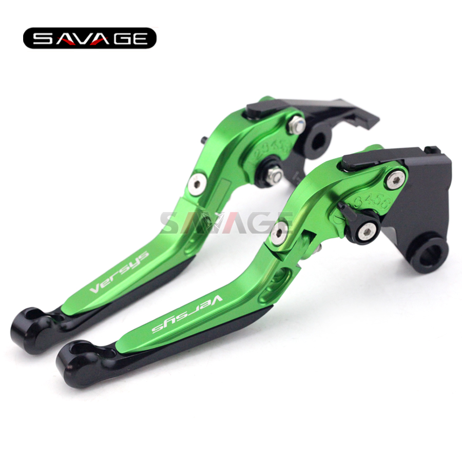 ФОТО For KAWASAKI KLE 1000 Versys 2015 Green Motorcycle Adjustable Folding Extendable Brake Clutch Lever Logo Versys