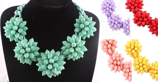 New 2014 Za resin flower chokers necklace & pendant statement necklace For Female Evening Dress women 5colors