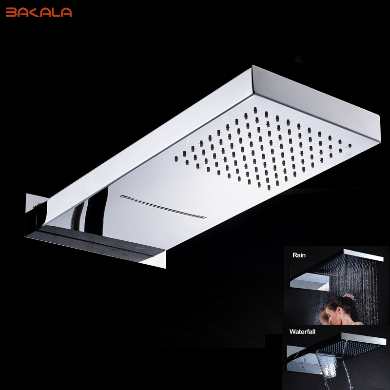 Bakala Luxury Rain& Waterfall Shower head Stainless Steel Shower Mixer Faucet Taps with 2 Ways Mixer Valve Chrome Finish chromed
