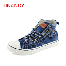 цены New Couples High top Denim Fabric Canvas Shoes Sneakers Women Flat Leisure Shoes Tenis Feminino Casual Size 35-44 Zapatos Mujer
