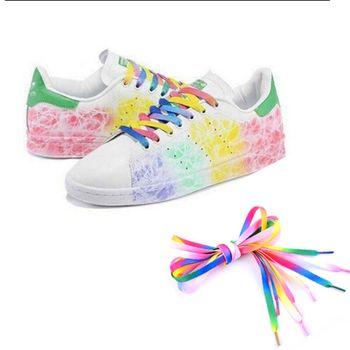 1pair 2PC 110cm Multi colors Rainbow Flat Canvas Athletic Shoelace Sport Sneaker Shoe Laces Boots Strings Free Shipping Shoelaces