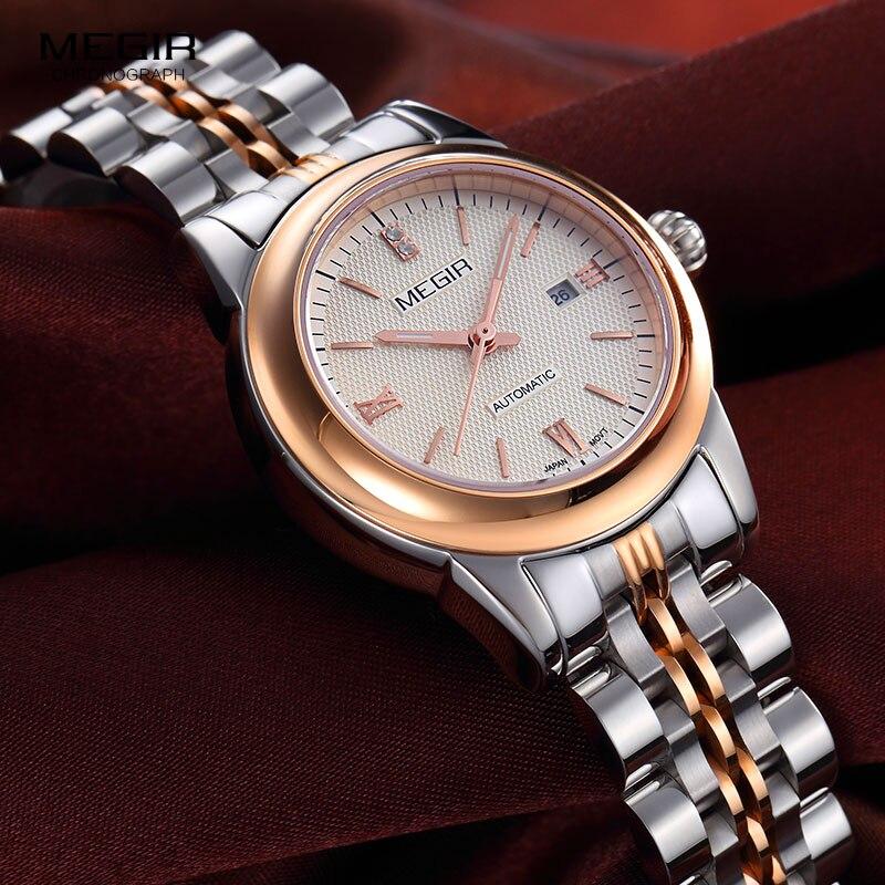 Reloj de pulsera MEGIR para mujer mecánico esqueleto reloj de pulsera 2019 moda Acero inoxidable Casual elegante mujer regalo RS62002LWhite-Rose - 3